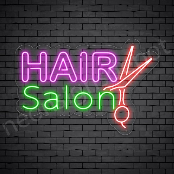 Hair Salon Neon Sign 2OL Hair Salon Scissor Transparent 24x16