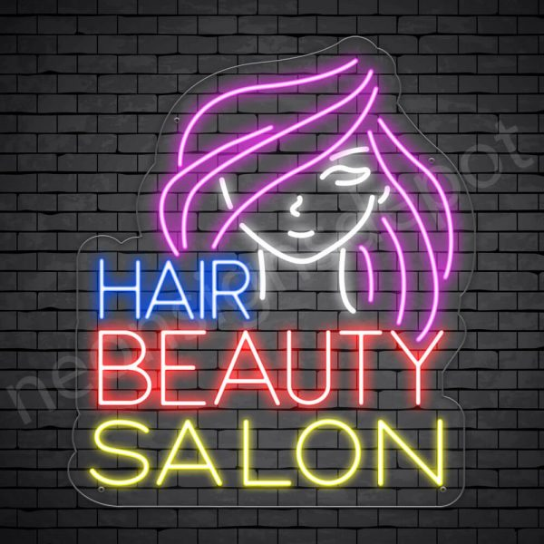 Hair Salon Neon Sign Hair Beauty Salon Transparent -21x24