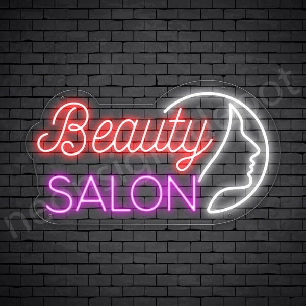 Hair Salon Neon Sign Beauty Salon Girl Face Transparent 24x14