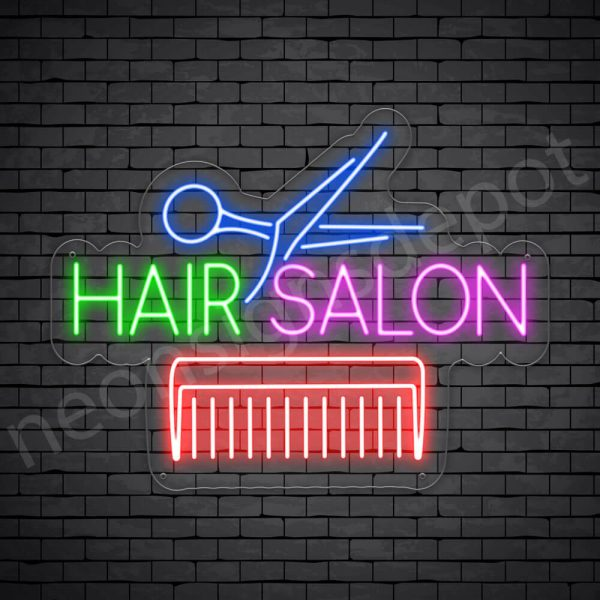 Hair Salon Neon Sign Comb & Scissor Hair Salon Transparent 24x18