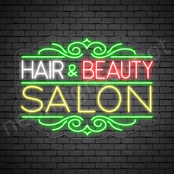 Hair Salon Neon Sign Hair & Beauty Transparent 24x18