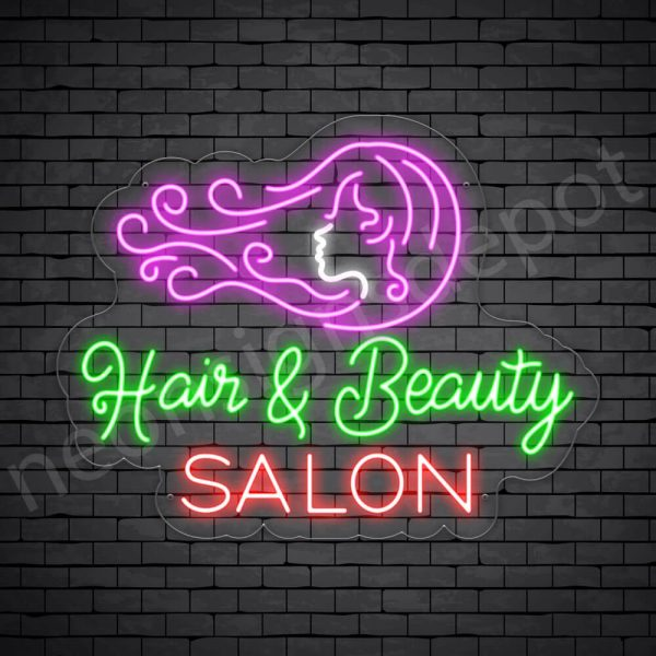 Hair Salon Neon Sign Hair & Beauty Salon Transparent 26x20