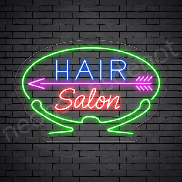 Hair Salon Neon Sign Hair Salon Arrow Transparent 24x16