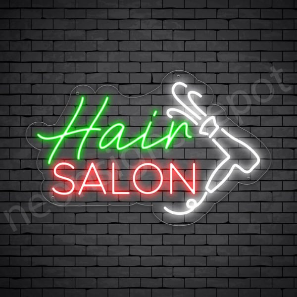 Hair Salon Neon Sign Hair Salon Blower Transparent 24x15