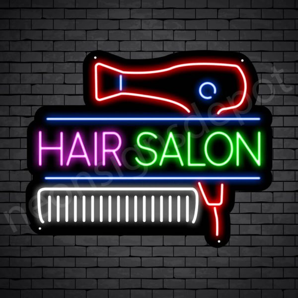 Hair Salon Neon Sign Hair Salon Blower & Comb Black 24x19