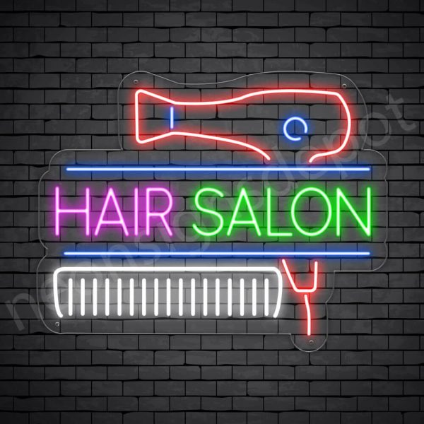 Hair Salon Neon Sign Hair Salon Blower & Comb Transparent 24x19
