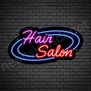 Hair Salon Neon Sign Hair Salon Circle Black 24x12