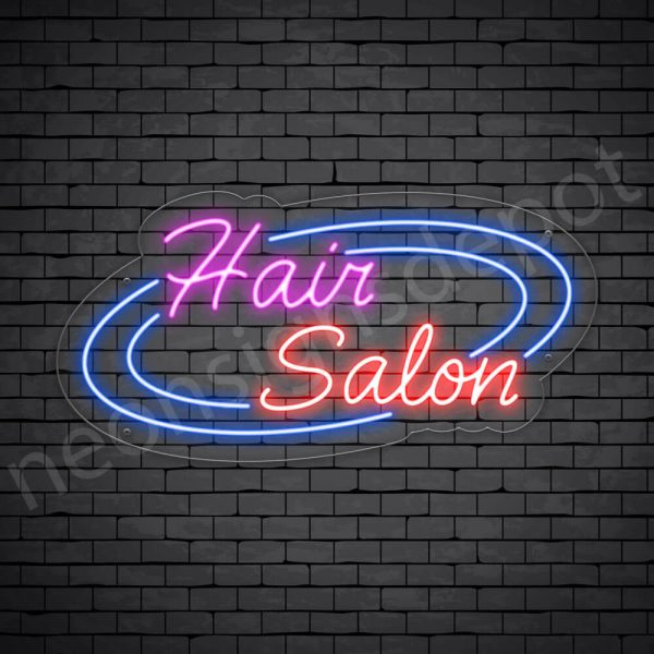 Hair Salon Neon Sign Hair Salon Circle Transparent 24x12