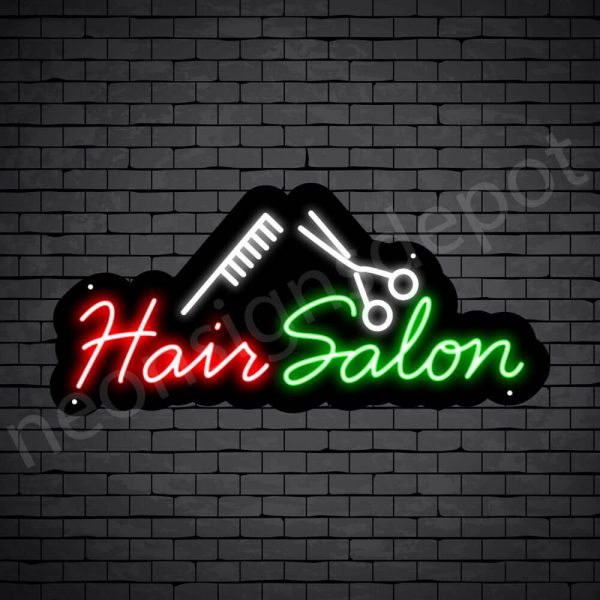 Hair Salon Neon Sign Hair Salon Comb & Scissor Black 24x11
