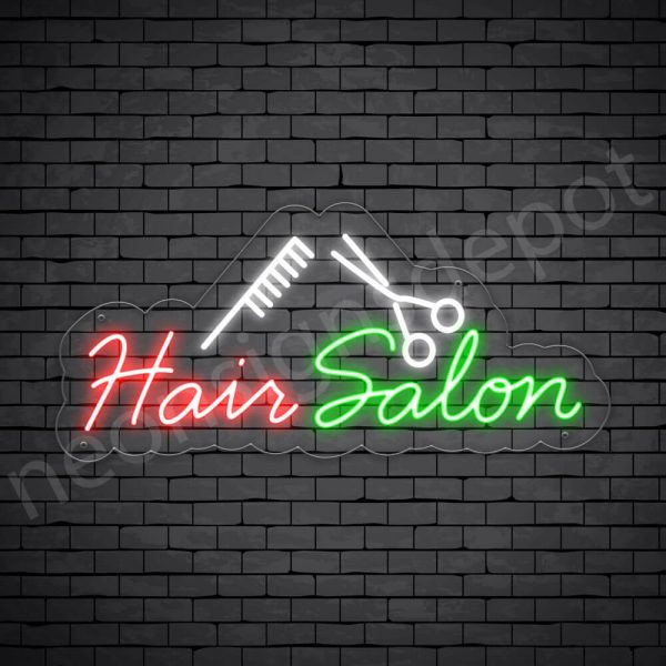 Hair Salon Neon Sign Hair Salon Comb & Scissor Transparent 24x11