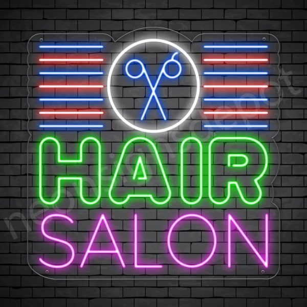 Hair Salon Neon Sign Hair Salon Scissor & Lines Transparent 24x24