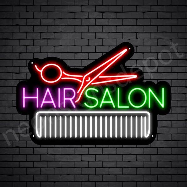 Hair Salon Neon Sign Hair Salon Scissor & Comb 24x16
