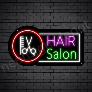 Hair Salon Neon Sign Hair Salon Tools Black 24x13