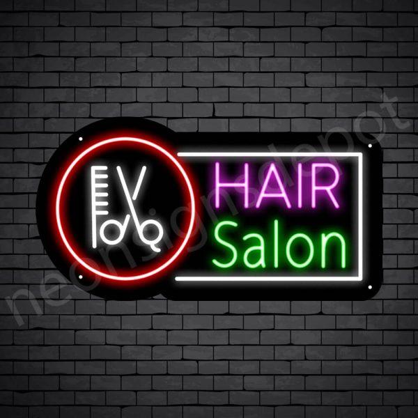 Hair Salon Neon Sign Hair Salon Tools Black 24x13