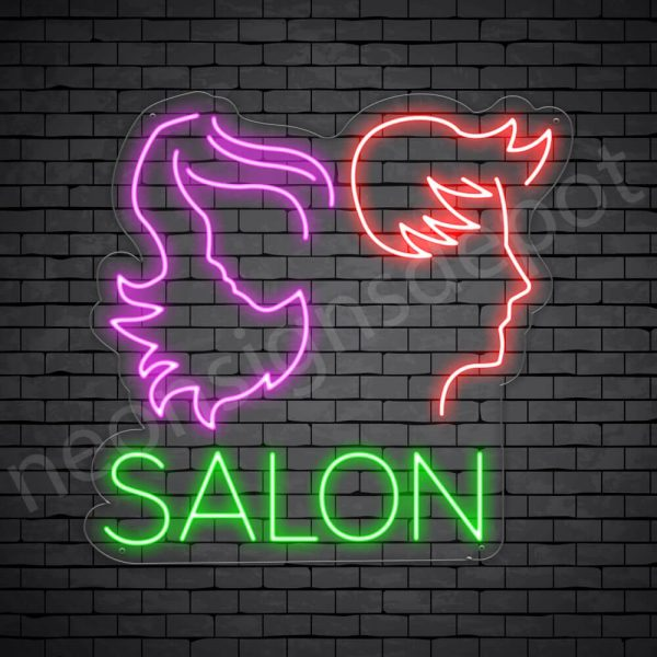 Hair Salon Neon Sign Men & Women Salon Transparent 24x23