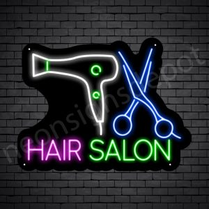 Hair Salon Neon Sign Scissor & Blower Hair Salon Black - 24x18