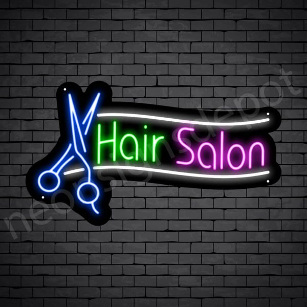 Hair Salon Neon Sign Scissor Hair Salon Black - 22x14