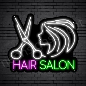 Hair Salon Neon Sign Scissor Women Hair Salon Black - 24x20