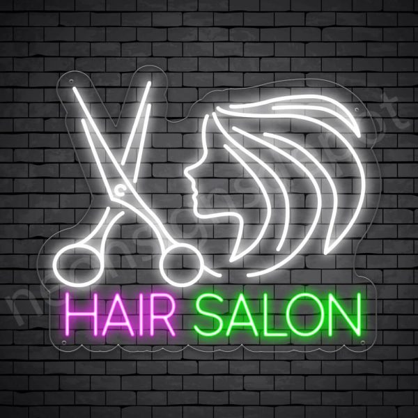 Hair Salon Neon Sign Scissor Women Hair Salon Transparent - 24x20