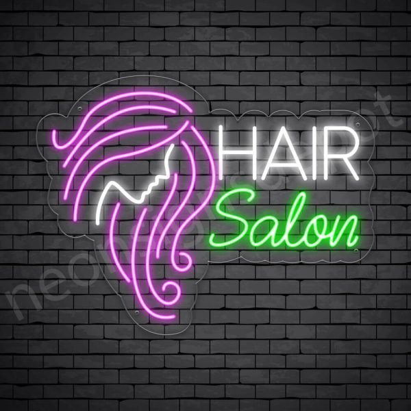 Hair Salon Neon Sign Women Long Hair Salon Transparent - 18x24