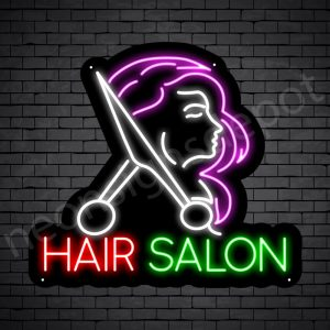 Hair Salon Neon Sign Cut Women Hair Salon Black 24x22