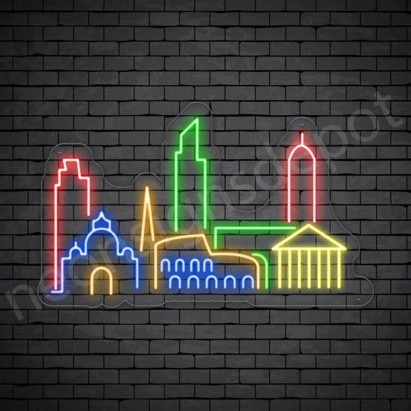 Beautiful City Neon Sign Transparent