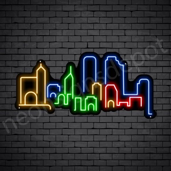 Beijing City Skyline Neon Sign Black