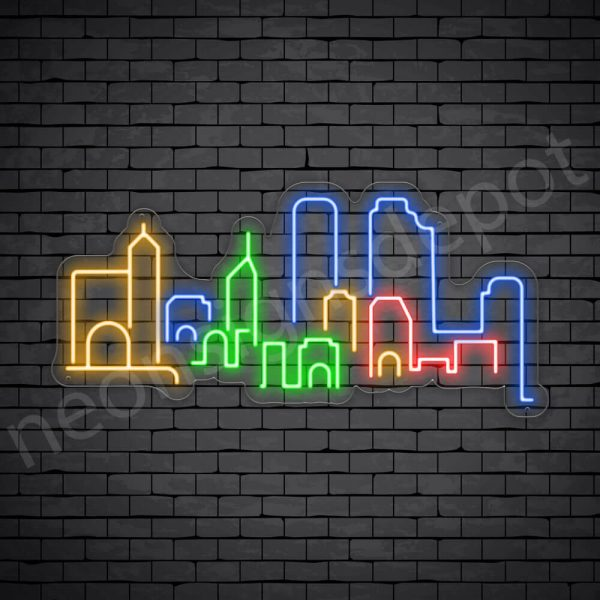 Beijing City Skyline Neon Sign Transparent
