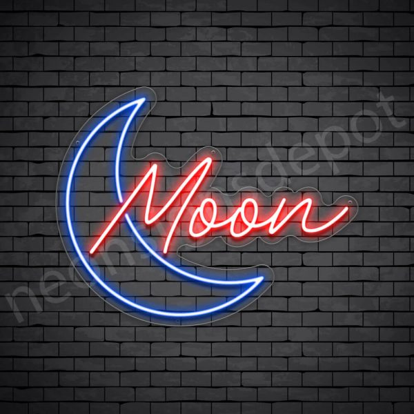 Blue Moon Neon Sign - transparent