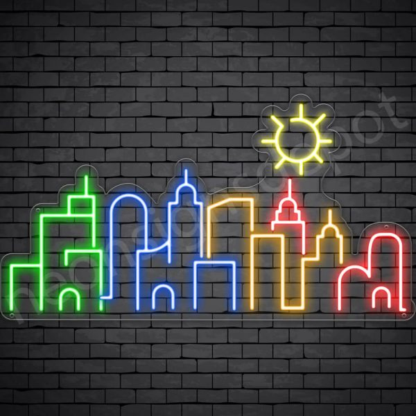 City Neon Sign Transparent 30x16