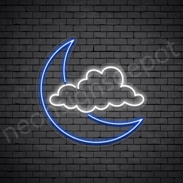 Cloud Moon Neon Sign - transparent