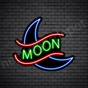 Crescent Moon Neon Sign - black