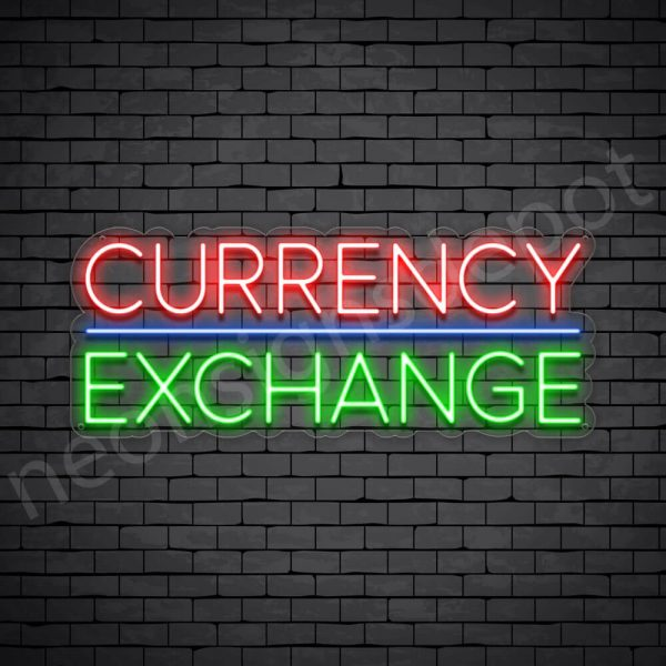 Currency Exchange Neon Sign - transparent