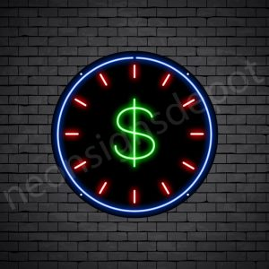Dollar Clock Neon Sign - black