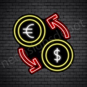 Dollar Euro Exchange Neon Sign - black