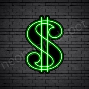 Dollar Symbol Neon Sign - black