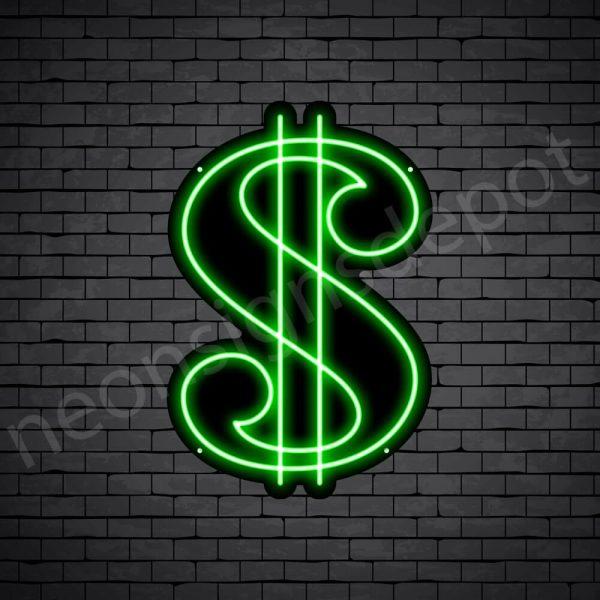 Dollar Symbol Neon Sign - black