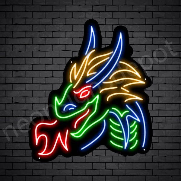 Dragon Neon Sign Dark King Dragon Black