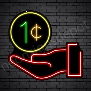 Hand One Cent Neon Sign - black