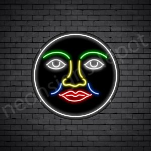 Face Full Moon Neon Sign - black
