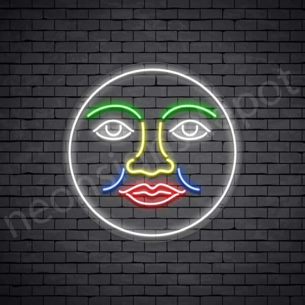 Face Full Moon Neon Sign - transparent