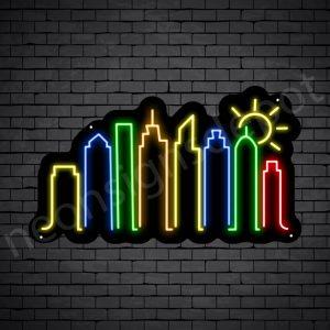 Famous City Neon Sign Black
