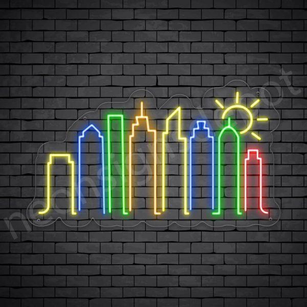 Famous City Neon Sign Transparent