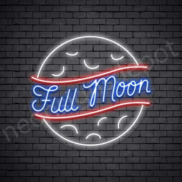Full Moon Neon Sign-Transparent