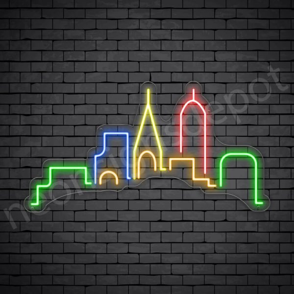 Generic Small City Neon Sign Transparent