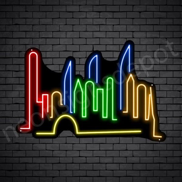 Guangzhou City Neon Sign Black