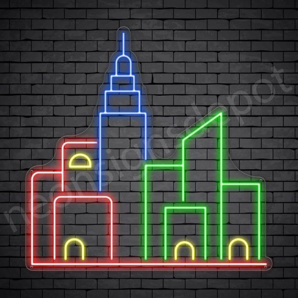 Metropolis City Neon Sign Transparent