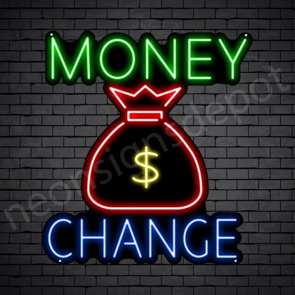 Money Change Dollar Neon Sign - black