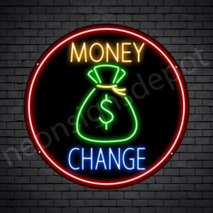 Money Change Neon Sign - black