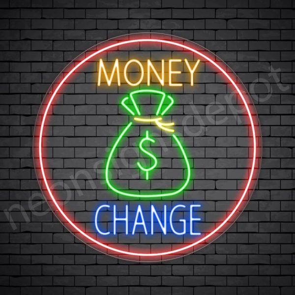 Money Change Neon Sign - transparent